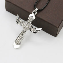 New fashion Angel wing cross necklace women men biker jewelry W/ crystal adjustable antique silver plated(China)