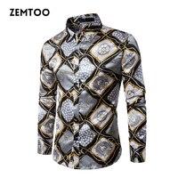 zemtoo Nightclub Gold Silk Shirt Men Chemise Homme 2017 Fashion Mens Slim Fit Long Sleeve Busniess Shirt Male Social Shirt
