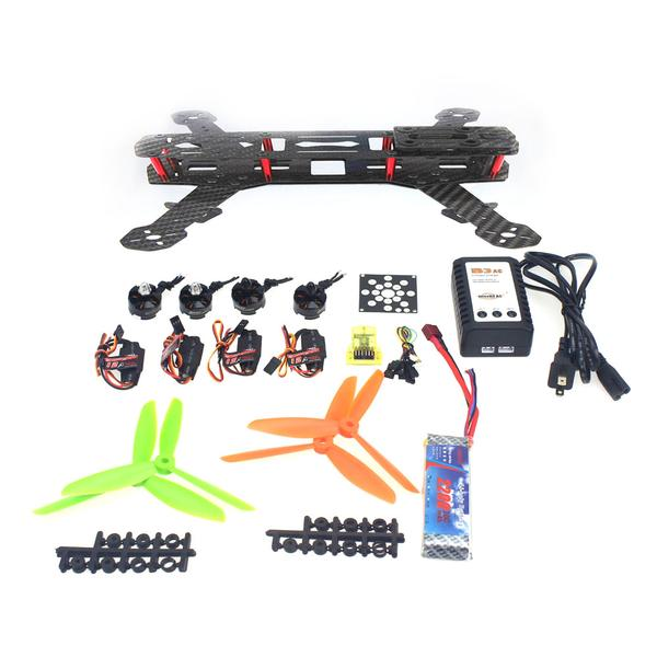 Unassembled Kit Mini 250 Carbon Fiber 4-Axis Aircraft Frame with Motor+ ESC +Flight Controller +Battery F09205-G 250 mini 250 carbon fiber aircraft frame rtf kit with radiolink t6ehp e tx