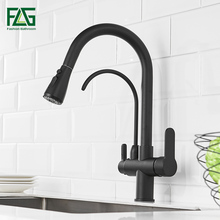 FLG Black Kitchen Faucet Filter Water Sink Faucet Pull Down Out Taps Swivel Multifunction Water Outlet Mixer Tap 1030-33B цена