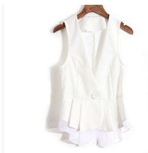 Gilet de costume blanc pour femme