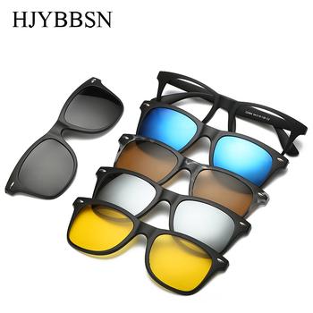5 lenes magnes okulary klip lustrzane okulary przeciwsłoneczne w formie nakładki klip na okulary mężczyźni spolaryzowane klipy niestandardowe krótkowzroczność na receptę tanie i dobre opinie HJYBBSN Prostokąt Lustro Antyrefleksyjną UV400 Z tworzywa sztucznego Kobiety Dla dorosłych Polaroid 47mm 55mm 5 lens