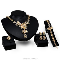 Gold Bow Jewelry Sets 18k Gold Plated Crystal Necklace Earrings Bracelet Rings For Women Wedding Accessories