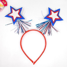 Flag Hairband Stars And Stripes Large Bow Hairband For 2018 4th Of July Party Headband American Independence Day Hair Accessorie stylish stars and stripes pattern bow tie for men
