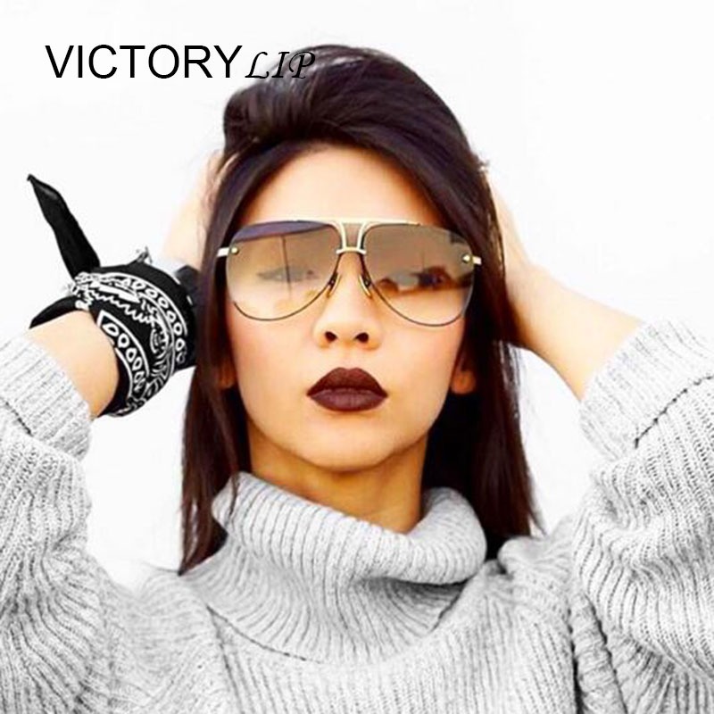 VictoryLip 2016 Fashion Men or women Brand Designer Sunglasses Original luxury Full Metal FeMale Lady UV400 Mirror Sun Glasses
