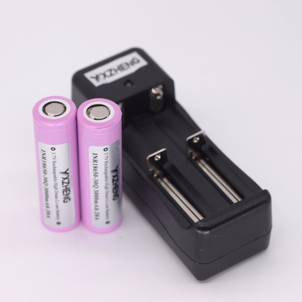 2PCS INR18650-<font><b>30Q</b></font> for <font><b>samsung</b></font> li-ion battery 3000mah 35A discharge rate+charger image