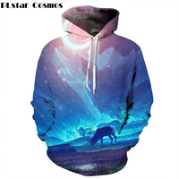 PLstar Cosmos 2017 New Arrival Pocket Hoodies Men Women Hooded Sweatshirt Animal Deer 3d Print Hoody