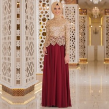 Hot Sale Burgundy Muslim hijab Evening Dresses 2017 Gold Lace Appliques Long Sleeves Prom Dresses Chiffon Vestido De Festa