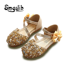 Girls Sandals Children Princess Glitter Kids Dress Party Bowknot Shoes Safty Quality Non-slip For
