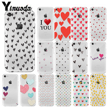 Yinuoda Love heart Newly Arrived Transparent Cell Phone Case for Apple iPhone7 8 6 6S Plus X XS MAX 5 5S SE XR Cellphones