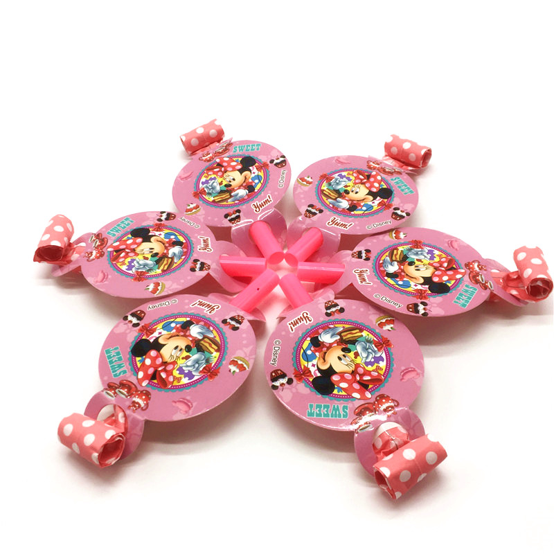 6Pcs Disney Minnie Mouse Theme Girl Birthday Theme Party Blowing Dragon Baby Shower Toy Blowout Cartoon Funny Whistle Supplies