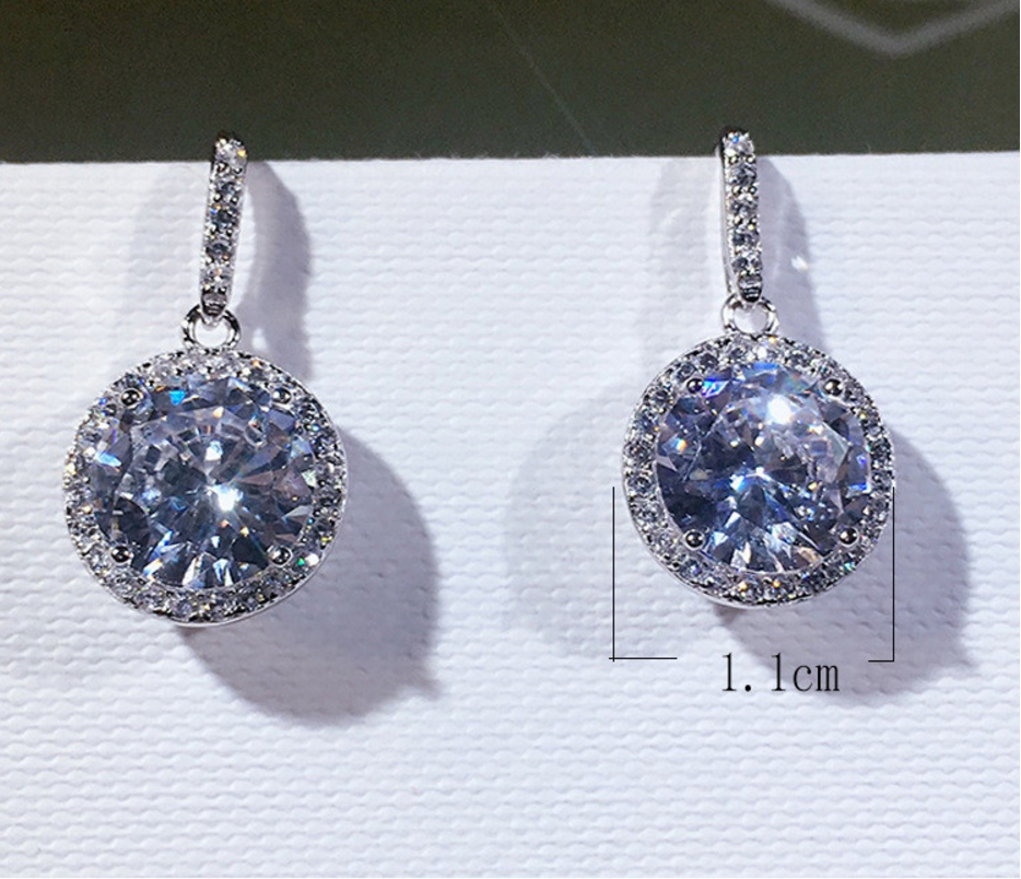 Mode luxe élégance boucles d'oreilles pour femmes 100% 925 argent Sterling géométrie ronde boucles d'oreilles pour femmes bijoux en gros