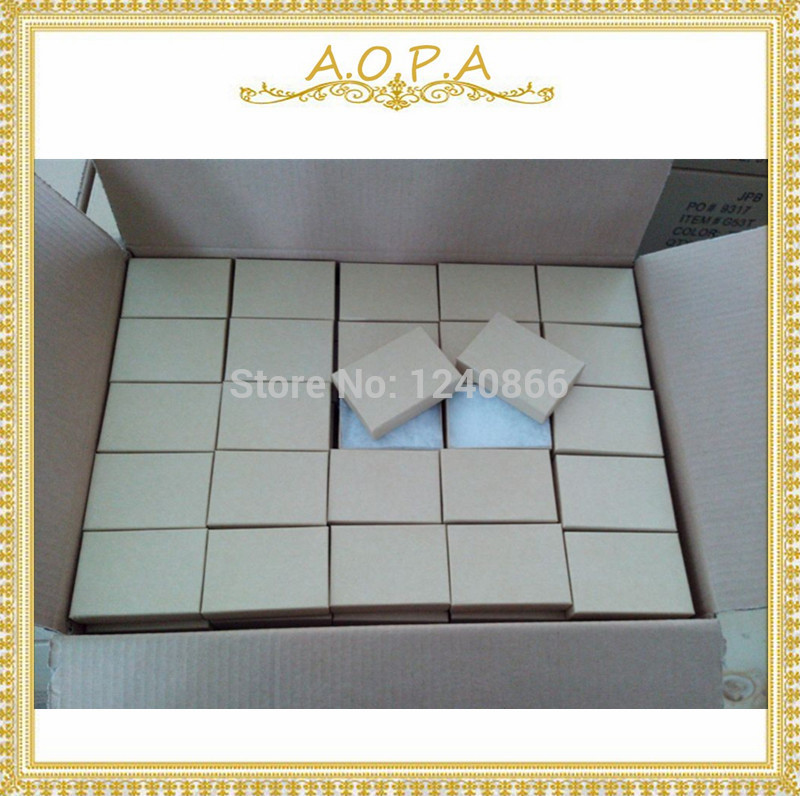 32 Jewelry kraft brown all handmade customized box with cotton filled box 100pcs for packaging