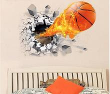 New Fashion 3d Basketball Tv Three-dimensional Wall Stickers Background Decoration Childrens Environmental Protection