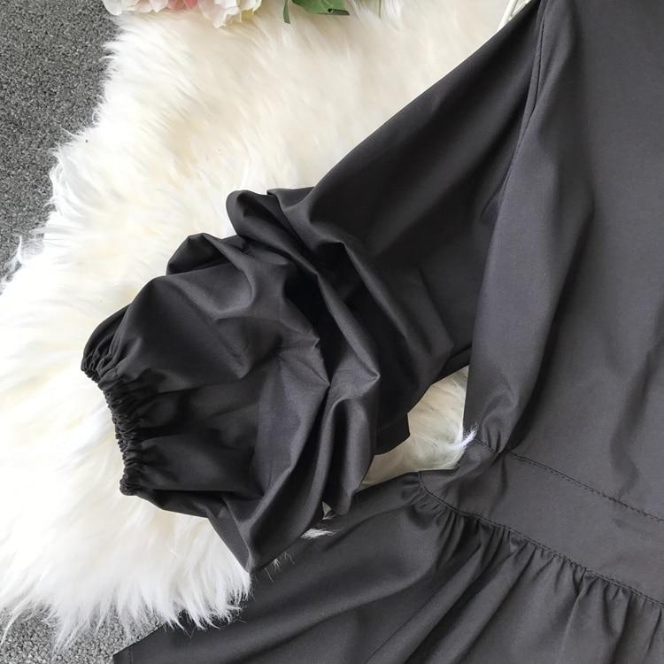 2109 Spring Women V-neck Puff Sleeves Blouse Slim Tunic Tops Retro Vintage Pullovers Busos Para Mujer Kimonos 87