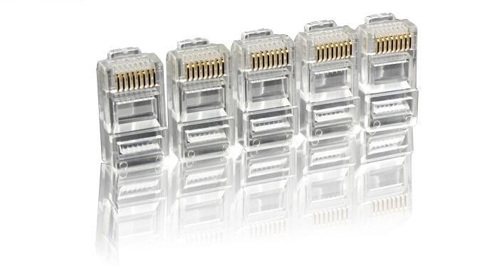 50pcs 100pcs EZ rj45 connector cat6 cat5e network connector 8P8C cat5 shielded modular rj45 plug terminals have hole