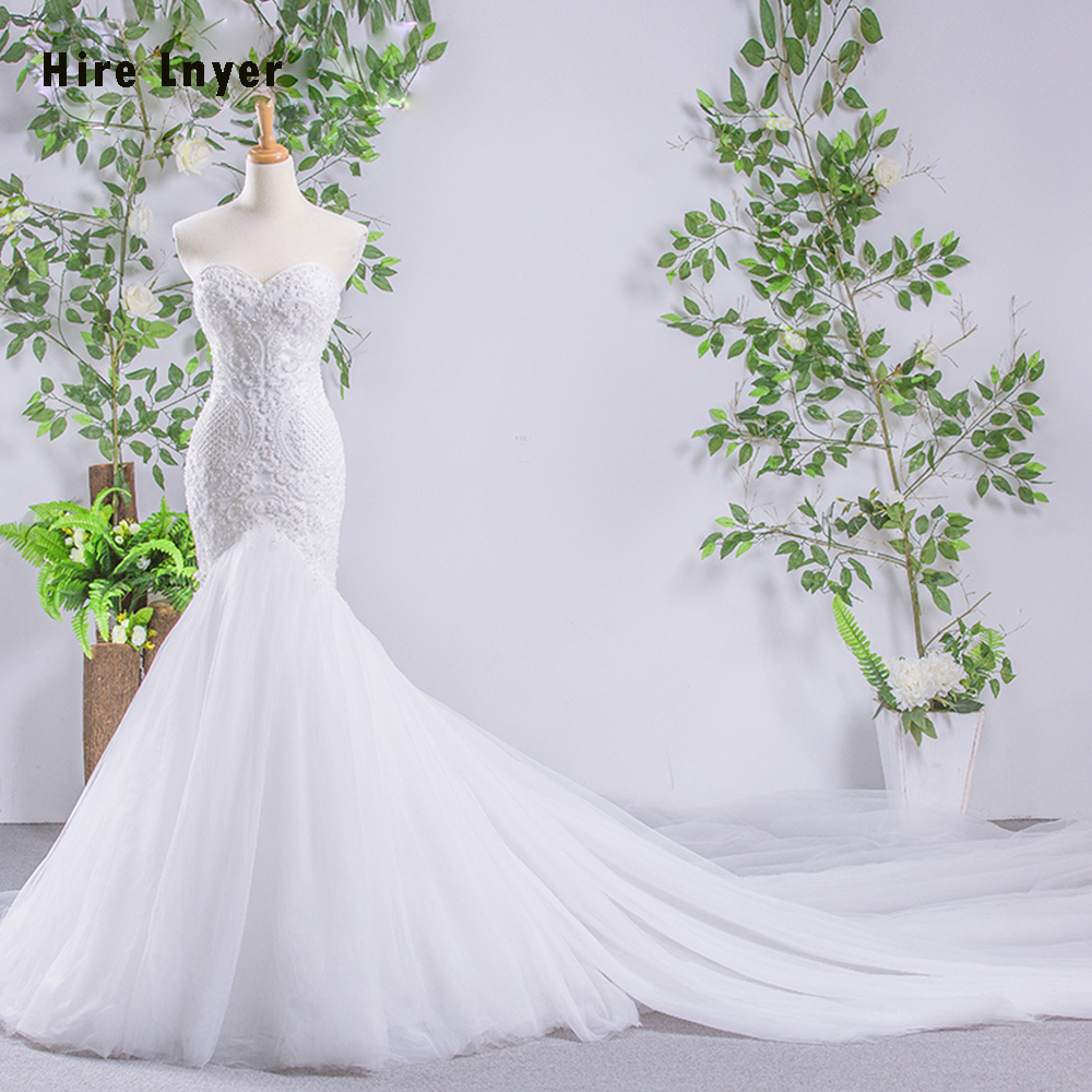 HIRE LNYER 2019 New Arrive Lace Up Full Beading Pearls Mermaid Wedding Dresses Alibaba China Vestido De Noiva Sereia-in Wedding Dresses from Weddings & Events    1