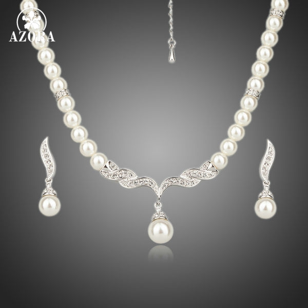 AZORA White Gold Color Imitation Pearl Strand Earrings and Necklace Jewelry Sets TG0086