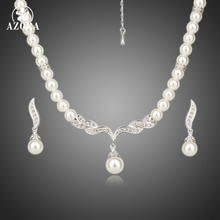 Azora blanco del color del oro de imitación de perlas pendientes y collar de la joyería sets tg0086