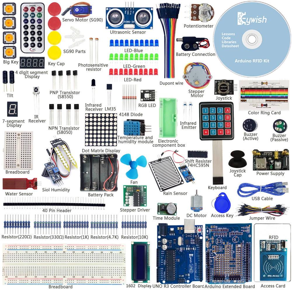 Keywish más completa Sensor RFID Kit de iniciación para Arduino UNO R3 de agua Kit-Sensor de nivel Servo DC/DC /Motor paso a paso RGB LED