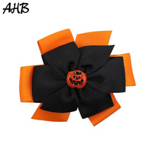 AHB 5 Inch Festival Hair Bows for Girls Solid Ribbon Funny Pumpkin Hairgrips Party Kids Halloween Accessories