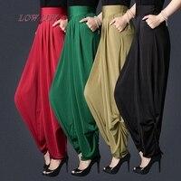 New Women casual harem pants high waist pants dance club wide leg loose long Harem bloomers trousers plus size M 3XL