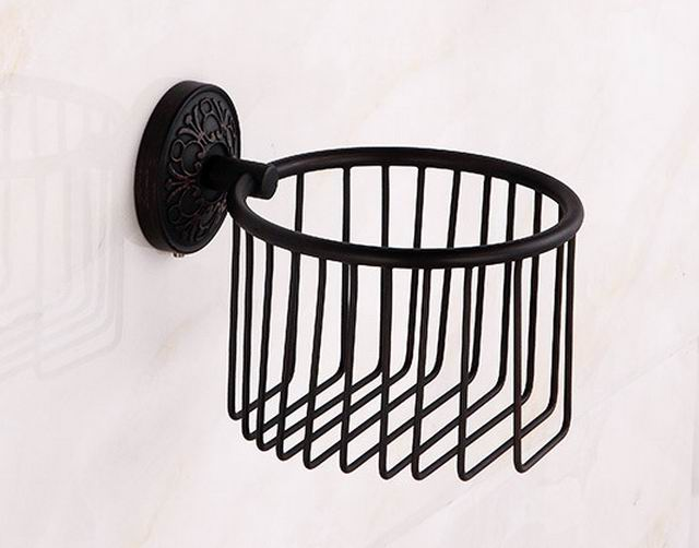 Free shipping Oil Rubbed Bronze Wall Mounted Roll Holders Paper Holders Bathroom Basket Bathroom Accessories Paper