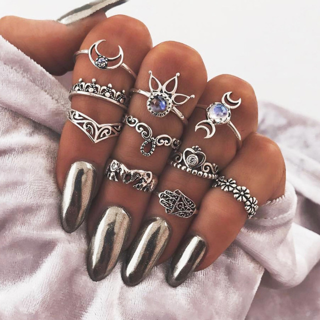 10 pcs/Set Vintage Beach Ring Punk Elephant Sun Flower Moon Rings Set Ethnic Boh