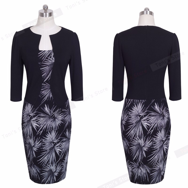Nice-forever One-piece Faux Jacket Brief Elegant Patterns Work dress Office Bodycon Female 3/4 Or Full Sleeve Sheath Dress b237 20