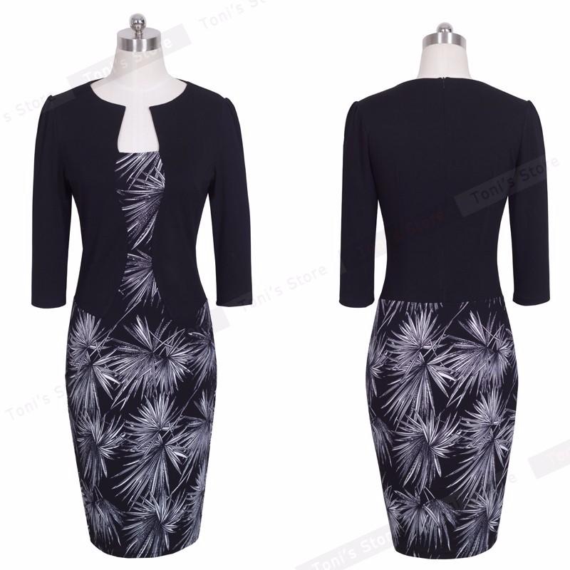 Nice-forever One-piece Faux Jacket Brief Elegant Patterns Work dress Office Bodycon Female 3/4 Or Full Sleeve Sheath Dress b237 6