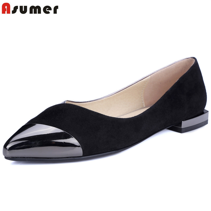 ASUMER Plus size 34-43 New genuine leather shoes women pumps pointed toe high quality casual low heels shoes woman femaleASUMER Plus size 34-43 New genuine leather shoes women pumps pointed toe high quality casual low heels shoes woman female