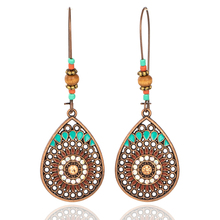 Vintage Boho India Ethnic Water Drip Hanging Dangle Drop Earrings for Women Female 2018 New Wedding Party Jewelry Accessories cheap Fashion Geometric Copper Alloy Metal E021296 EXYNLON costume jewelery woman women s earrings 2017 decorations for women