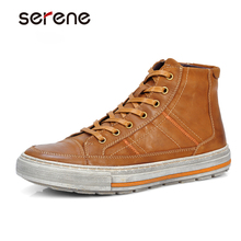 SERENE font b Men b font Oxford Shoes Nubuck Leather Lace Up Flats Vintage Design Italian
