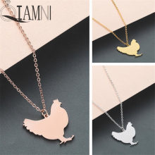 QIAMNI Cute Chicken Pendant Necklace Stainless Steel Hen Farm Animal Necklace Jewelry Party Gift Minimalist Charm for Women Men(China)