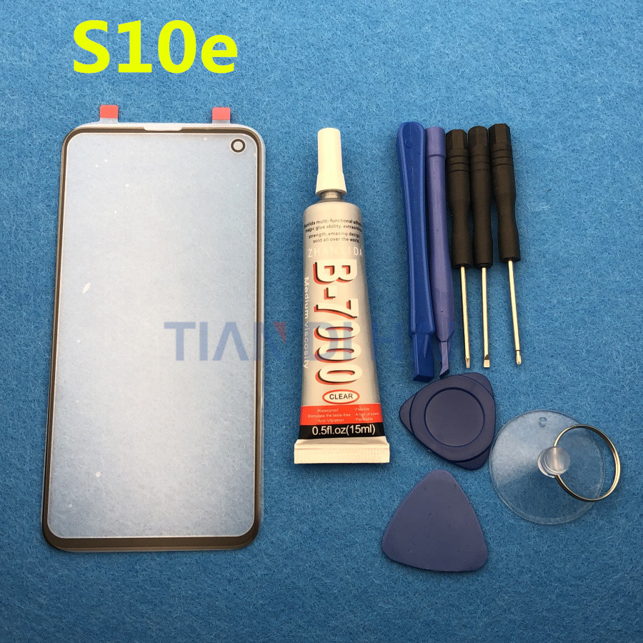 S10E Original Front Outer Glass Lens Cover replacement For Samsung Galaxy S10e G970 G970F 5.8'' LCD glass & B-7000 Glue & Tools