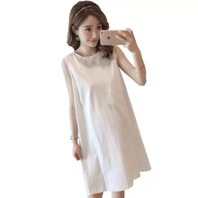 3e86db5d67f48 Afei Tony maternity clothes Summer 2018 New Women Casual Patchwork Dress  Sexy Sleeveless Dresses pregnancy clothes