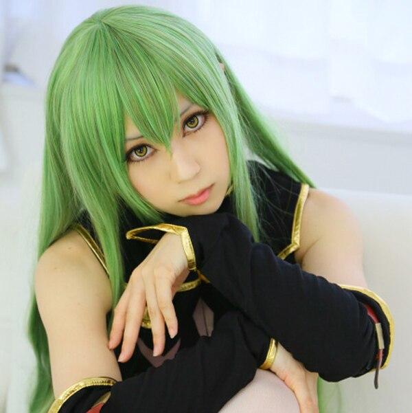 "Code Geass CC CC Kaiserin 100 cm 39 ""Grün Lange Gerade Anime Cosplay Perücke + Haarnetz"