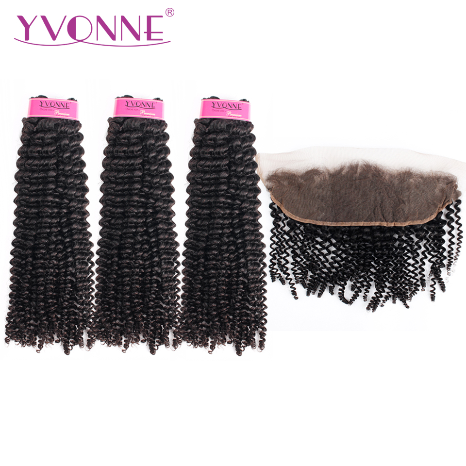 Yvonne Kinky Curly Brazilian Virgin Human Hair Bundles With Frontal Natural Color 3 Bundles Hair Weave With 13*4 Lace Frontal