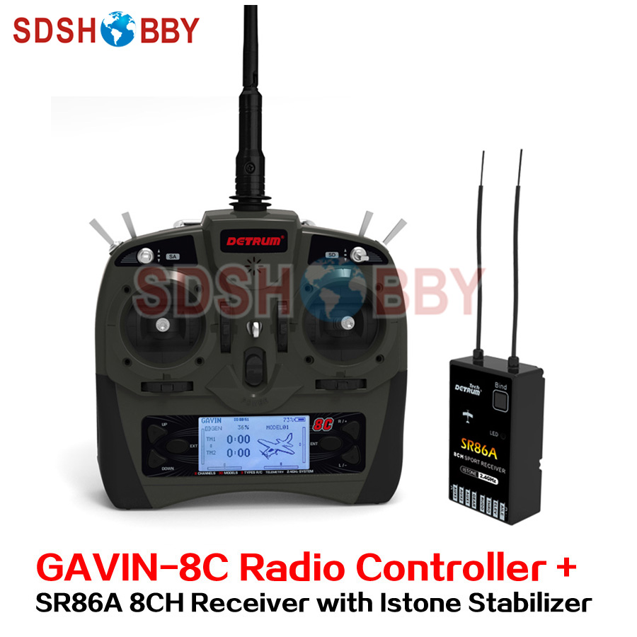 Detrum GAVIN-8C Transmitter Set Remote Controller with SR86A Istone Stabilizer 8CH Receiver for RC Fixed Wing Airplane gavin james amsterdam