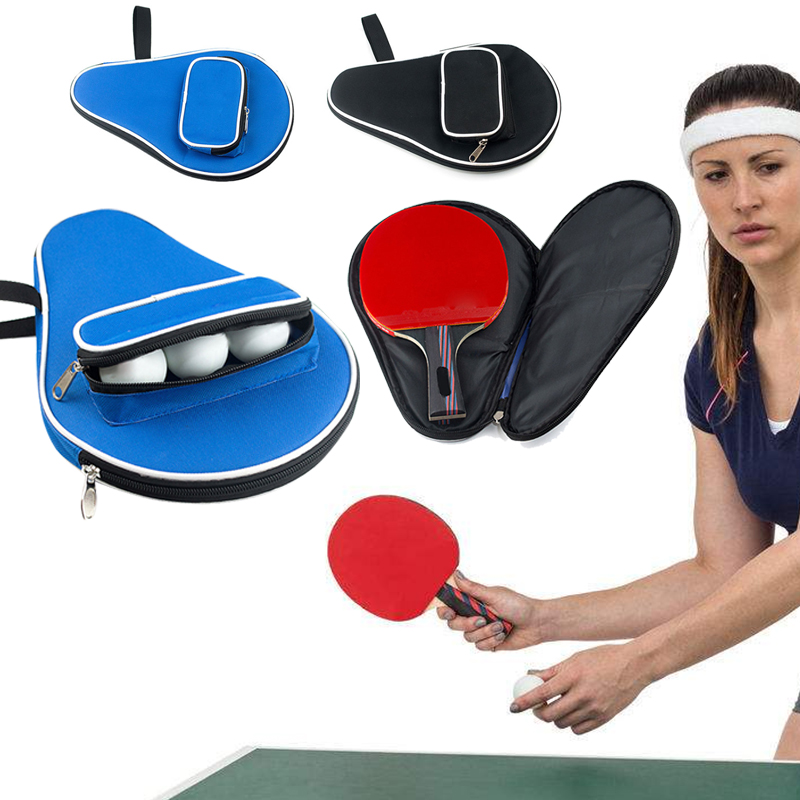 Ping Pong Ball Bag Table Tennis Racket Case Oxford Black Blue Paddle Bat Storage Athletes Container Racquet Sport 30*20.5cm