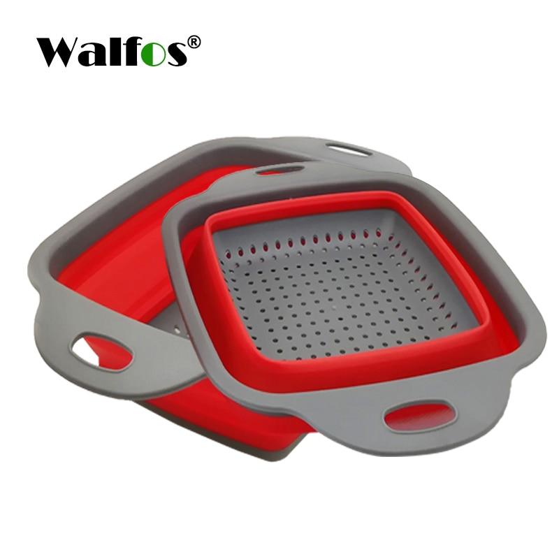WALFOS 2 шт./компл. складная корзина для сушки складной дуршлаг овощи фрукты дуршлаг Кухонные принадлежности - Цвет: WALFOS red