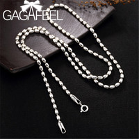 GAGAFEEL Real 925 Sterling Silver Beads Necklace Long Men Chains Necklaces Men's Women 3MM 50/55/60/ 65/70/75/80cm