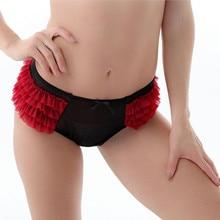 Women panties thong Adult women muliti layered mesh Ruffled panty,sexy women intimates underwear black color very big size