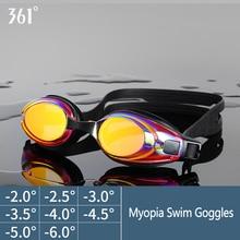 361 プロの水泳メガネユニセックスプール近視メガネアンチフォグスイムゴーグルシリコーン防水近視レンズスイム眼鏡