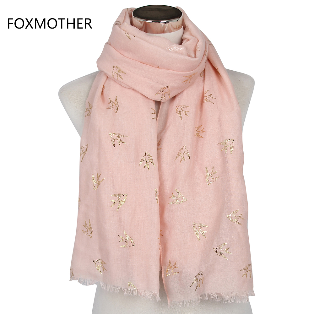 Free Shipping 2018 New Design Pink Bronzing Gold Swallows Bird Women s  Scarves Long Wraps With Fringe bc8c389959bc