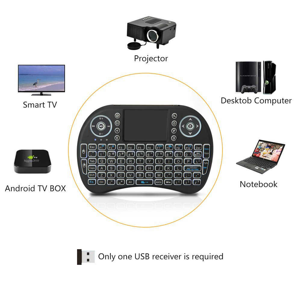 I8 mini Wireless Keyboard 2.4GHz com Touchpad Fly Air Mouse Para TV BOX PS3 PC (Sem Backlight AAA bateria)