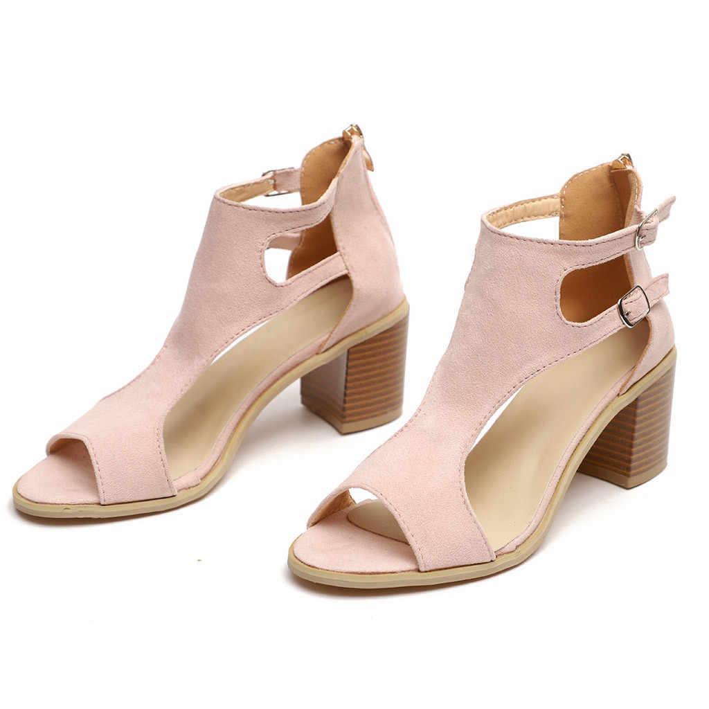 fee7aa9268891 YOUYEDIAN 2019 nouveau printemps été dames femmes sandales mode poisson  bouche évider Roma chaussures sapato feminino