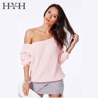 HYH HAOYIHUI модный бренд пуловер Длинный рукав сплошной вязаный для женщин Повседневное с открытыми плечами джемпер дизайн свитеры для