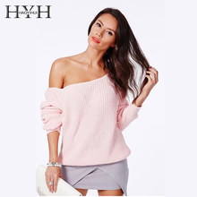 HYH HAOYIHUI Brand Fashion Pullover Full Sleeve Solid Knitted Women Casual Off Shoulder Jumper Design Sweaters