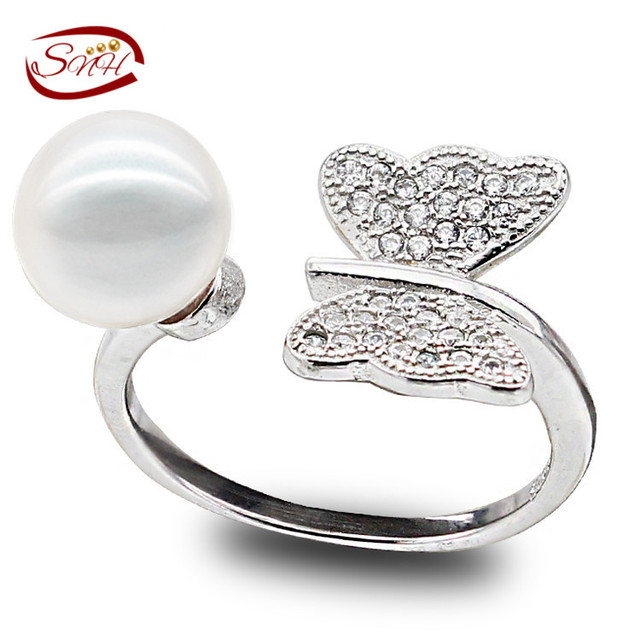 Ajustable Anillo de Perlas de Agua Dulce, forma de la mariposa de La Joyería para Las Mujeres Al Por Mayor